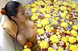 bath with oils and flowers